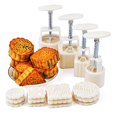 Moon Cake Mold Hand Pressure Set of 4