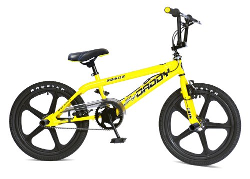 Skyway BMX Bikes http://www.cheapbikesbestprice.co.uk/Rooster-Big-Daddy-20-Wheel-Yellow-BMX-Bike---Black-Skyway-Mag-Wheels