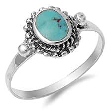 buy Women'S Nugget Simulated Turquoise Cute Ring New .925 Sterling Silver Band Size 10 (Rng14165-10)