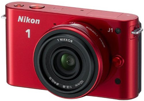 Nikon 1 J1 Compact System Camera with 10mm Lens Kit - Red (10.1MP) 3 inch LCD