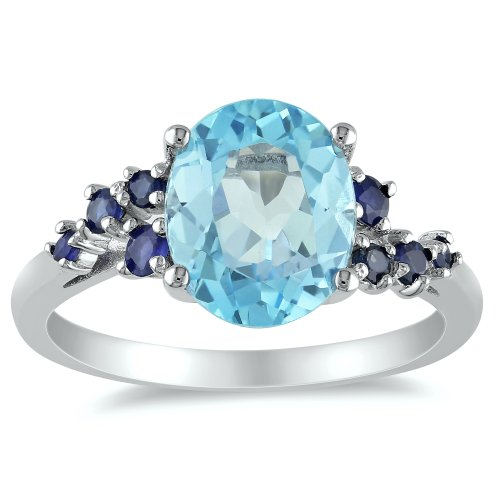 Sterling Silver Blue Topaz and Sapphire Ring, Size 7