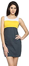 Texco Garments Women's A-Line Dress (25, White, Yellow and Black, S)