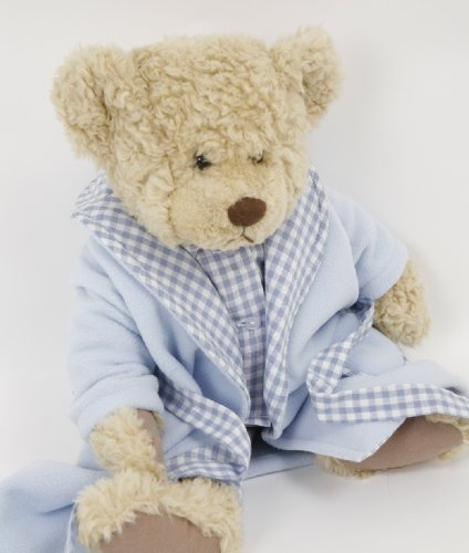 NEW BLUE DRESSING GOWN FOR SMALL DOLLS AND BEARS 14-18INS[35-45 CM]