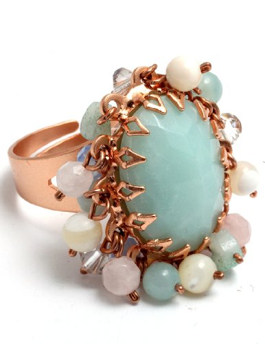 Amaro Jewelry Studio 'Flow' Collection Amazonite Top 24K Rose Gold Plated Adjustable Ring Garnished with Amazonite, Mother of Pearl, Pearls, Pink Quartz, Swarovski Crystal Pendent Beads