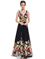 Ever Pretty Women's Sexy Double V-Neck Floral Printed Chiffon Maxi Dress 09636