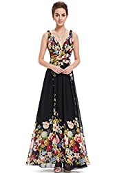 Ever Pretty Sexy Double V-neck Floral Printed Chiffon Prom Dress 09636