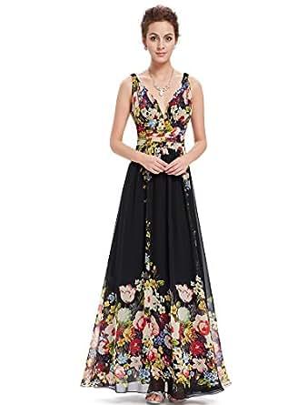 Ever Pretty Womens V Neck Floral Print Chiffon Maxi Dress 4 US Black