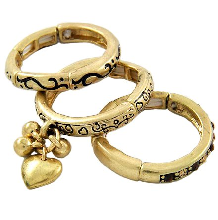 Matte Gold Tone Metal Heart Charm 3-Piece Stackable Stretch Ring