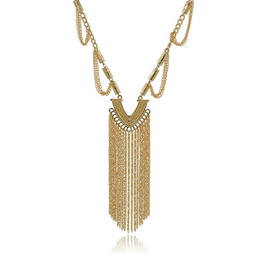 Modern Fantasy Luxury Macrame V Style Tassels Charms Bead Lace Cylindrical Feast chain Pendant Necklace (Gold)