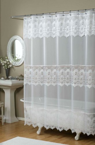 Emily Embroidered Shower Curtain - Color : CREAMY BONE
