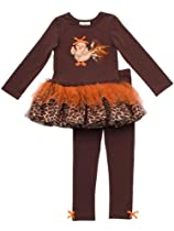 Rare Editions Girls 2-6X Turkey Applique Tutu Legging Set (6, Brown/Orange)