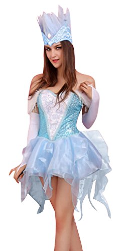 [Killreal Women's Deluxe Sexy Snow Queen Halloween Adult Costume Blue/White one-size] (Snow White The Queen Costume)