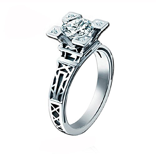 Acefeel 18K White Gold Eiffel Tower Cubic Zirconia Wedding Engagement Ring