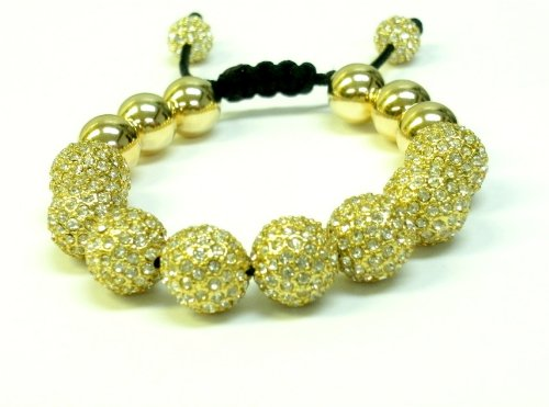 Shamballa Inspired Bracelet 12 mm Gold Plated Clear Crystal Pave and 14kt Gold Filled Beads. Macrame Lock Unisex Adjustable-handmade 16 Pave Beads Total. Wearing gold increases personal power and promotes courage, confidence and will power.