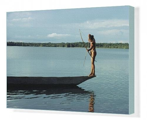 canvas-print-of-indian-fishing-with-bow-and-arrow-xingu-amazon-region-brazil-south-america