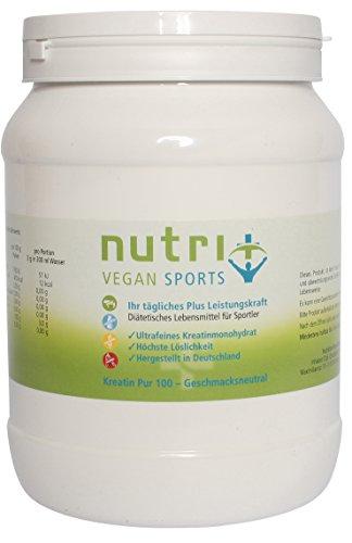Nutri-Plus Vegan Sports Kreatin Pur 100 + Dosierlöffel - Ultrafeines Creatin-Monohydrat 500g - Neutral - Ohne Zusatzstoffe