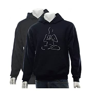 Men's Black Yoga Hoodie Large - Created using popular Yoga poses