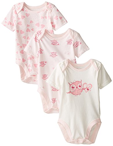 The Children's Place Baby-Girls Infant Owl 3-Pack Bodysuits, Petal, 0-3 Months