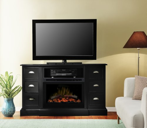 Dimplex DFP25-1347B Gibbons 58-Inch Wide by 32.3-Inch Tall Media Console with Electric Fireplace, Black