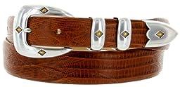 Tuscon Gold Italian Calfskin Leather Men\'s Designer Dress Golf Belt (42, Lizard Tan)