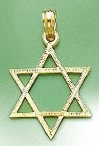 14k Gold Religious Necklace Charm Pendant, Star Of David Flat Engraved, Jewish F