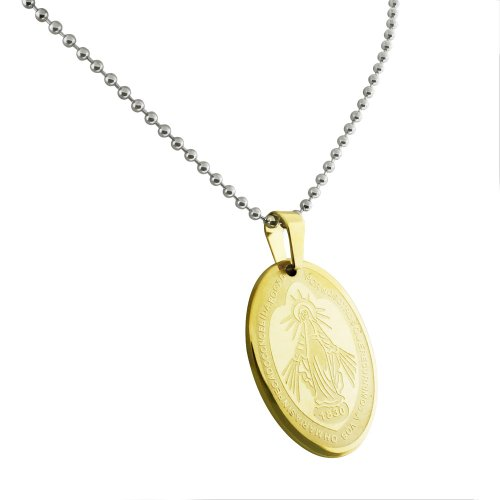 Gold Tone Stainless Steel Oval Pendant with Icon