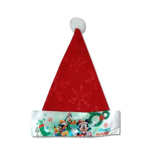 "Disney Mickey Mouse Kids 16"" Felt Christmas Santa Hat with Satin Cuff - Red"