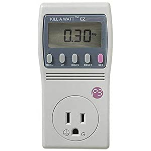 Now you can cut your energy costs and find out what appliances are actually worth keeping plugged in. Simply connect these appliances to the Kill A Watt EZ, and it will assess how efficient they really are. Large LCD display will count consumption by the Kilowatt-hour, same as your local utility. Calculate your cumulative electrical expenses and forecast by the day, week, month, even an entire year. Also check the quality of your power by monitoring Voltage, Line Frequency, and Power Factor. Now you�ll know if it is time for a new refrigerator or if that old air conditioner is still saving you money. With the amazing Kill A Watt EZ you�ll know Watts killing you.