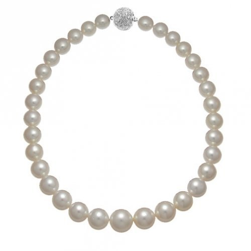 Great Gatsby Inspired Bling Jewelry Graduated 10 to14mm South Sea Shell White Pearl Bridal Necklace