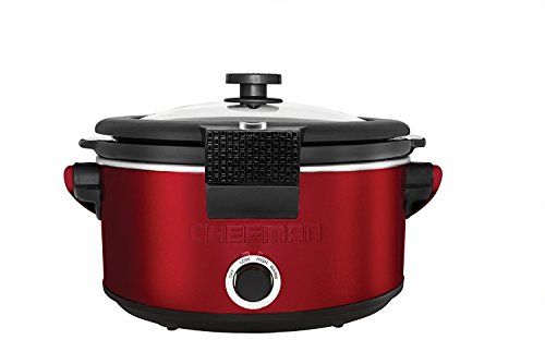 Chefman 5 Quart Stoneware Slow Cooker with Carry Handle-Red (Cast Iron Low Carb Cookbook compare prices)