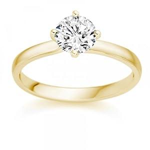 Diamond Manufacturers - Bague de fiancailles avec diamant Rond Femme - Or jaune 750/1000 (18 cts) - Diamant 1.22 ct