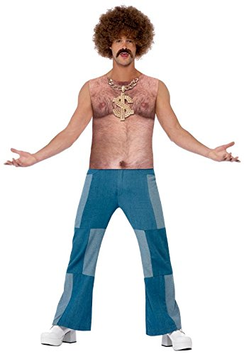 Smiffy's Men's Realistic 70's Hairy Chest, Multi, Medium