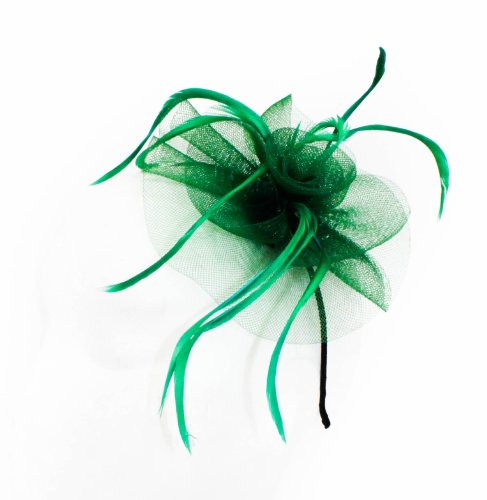 Beautiful Womens Looped Net and Feather with Centre Detail Fascinator on a Narrow Black Alice band in Green