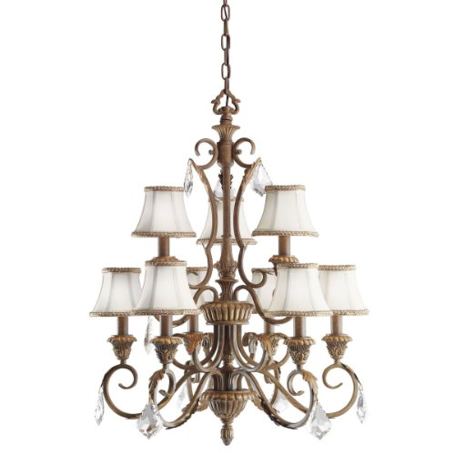 Kichler Lighting 2441RVN Ravenna 9-Light Chandelier, Ravenna with Clear Crystal Trim and Eggshell Fabric Shades with Decorative Trim