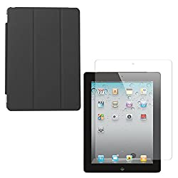 DMG Ultra Slim Magnetic Smart Shell Stand Cover Case for Apple iPad 2/3/4 (Black) + Matte Anti-Glare Screen Protector
