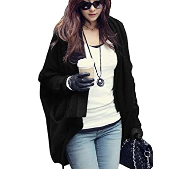 Lady Bracelet Batwing Sleeve Solid Color Front Opening Casual Shrug Sweater Black S