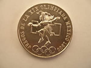 1968 Olympics 25 Pesos 19 Gr. (Approx.) Ley 0.720 Silver Coin.