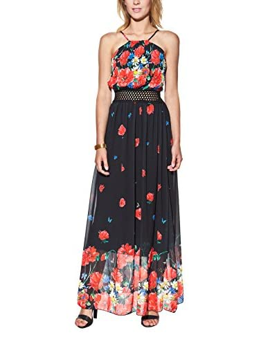 Candy Abito Maxi With Floral Print, Pleated And Openwork [Bianco]