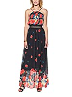 Candy Vestido Maxi With Floral Print, Pleated And Openwork (Negro)