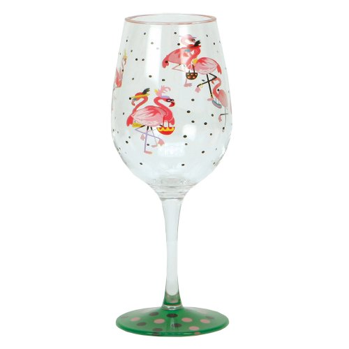 Lolita Love My Party Of Two Funky Flamingo 16-Ounce Acrylic Wine Glasses, Set Of 2 front-55571