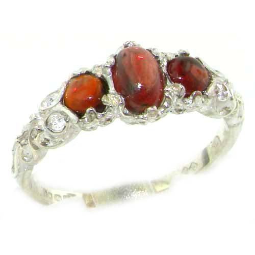 Ladies Solid Sterling Silver Natural Cabochon Garnet English Victorian Trilogy Ring - Size 12 - Finger Sizes 5 to 12 Available - Suitable as an Anniversary ring, Engagement ring, Eternity ring, or Promise ring