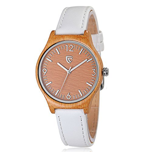 CUCOL Women's Quartz Bamboo Wood Watch