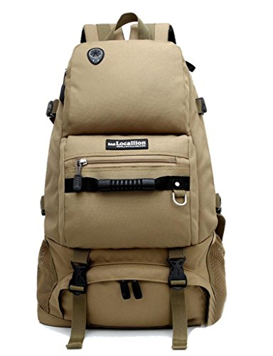 Zerd Outdoor Waterproof Nylon Mountaineering Camping Travel Backpack Trekking Bag 40L Khaki