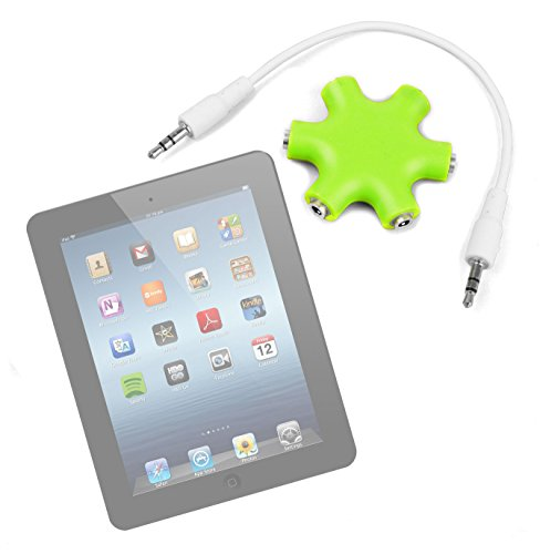 """Duragadget Lime Green 5-Way Headphone Splitter """"Star"""" For Apple Ipad Air Md788Ll/A (16Gb, Wi-Fi, White With Silver)"""