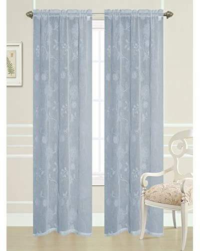 Laura Ashley Set of 2 Genevieve Window Curtains, Gray
