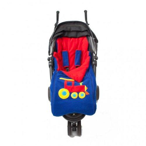 Cozyosko reversible buggy bag Blue Train / Red stars