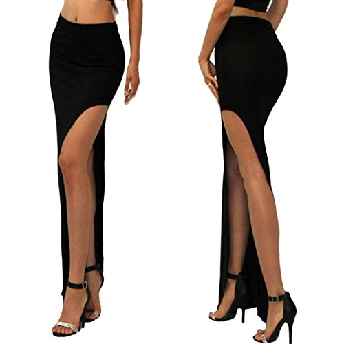 Novias Women Sexy Slim Side Split Open Leg Long Maxi Skirt Dress for Club and Party(Black) (Long Split Maxi Skirt compare prices)