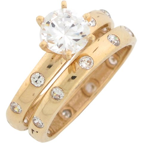 14ct Yellow Gold White CZ Striking Wedding Engagement Duo Rings Size 7
