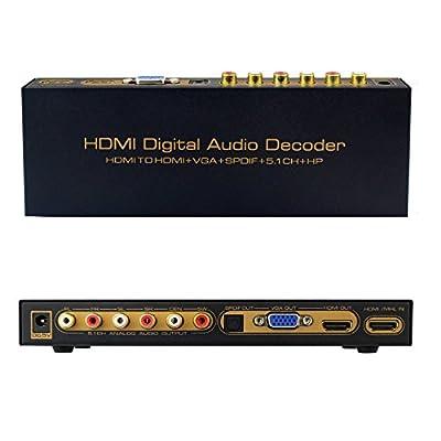 E-More® 1080P HDMI Digital Audio Decoder HDMI to HDMI + VGA + SPDIF 5.1CH HP Converter Digital Decorder MHL