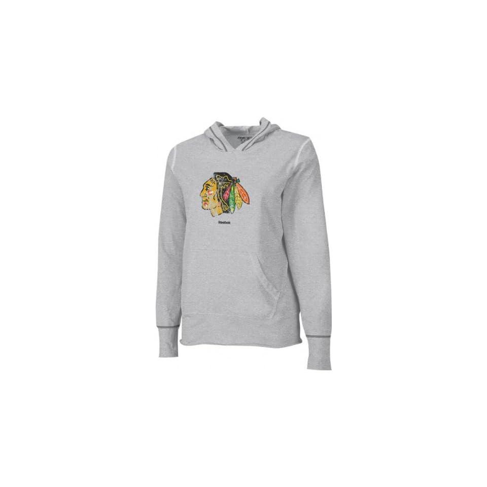 Chicago Blackhawks  Grey  Womens Distressed Giant Logo Long Sleeve Hooded Tee